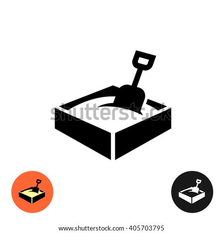 Sandbox icon. Black sign with color and inverted versions. - stock photo