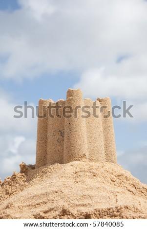 Sandcastle on Carbis Bay beach, St Ives, Cornwall, England,United, Kingdom. - stock photo