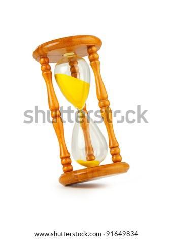 Sandglasses on white background - stock photo