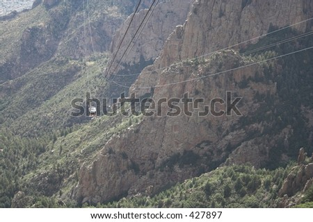 sandia peak tram from wide angle - stock photo