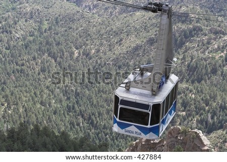 Sandia Peak Tram in postcard like picture - stock photo