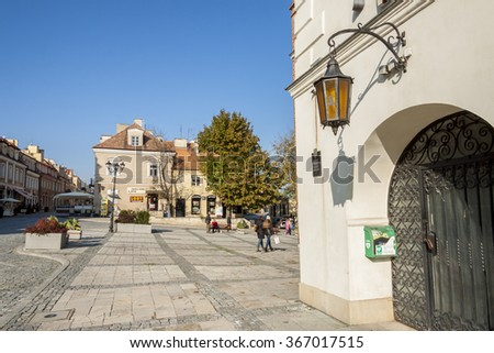 SANDOMIERZ, POLAND - OCTOBER 16:Part of old town on october 16, 2015 in Sandomierz. Sandomierz is among oldest towns in Poland, dating back to at least 1227. - stock photo
