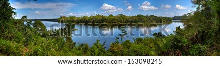 Sandoval Lake, in Tambopata national park, Peru. - stock photo