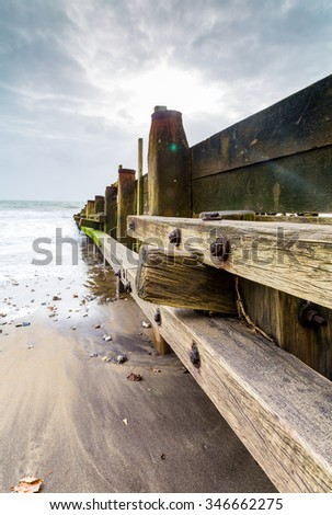 Sandown beach isle of wight. - stock photo