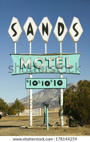 Sands Motel sign with RV Parking for $10, located at the intersection of Route 54 & 380 in Carrizozo, New Mexico