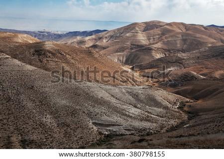 Sands of Judean Desert (Israel), from a hill near Beit El - stock photo