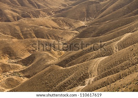 Sands of Judean Desert (Israel), view from a hill - stock photo
