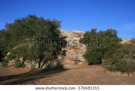 Sandstone boulder and trees in a field, California - stock photo