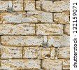 Sandstone Brick Wall with Cracks. Seamless Tileable Texture. - stock photo
