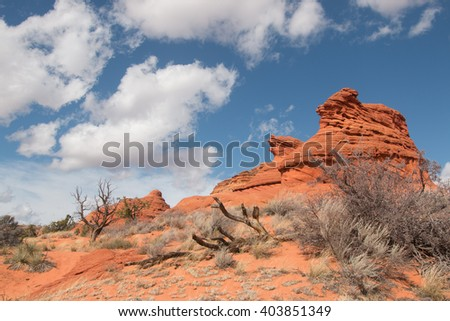 Sandstone butte, South Coyote Buttes, Utah, USA - stock photo
