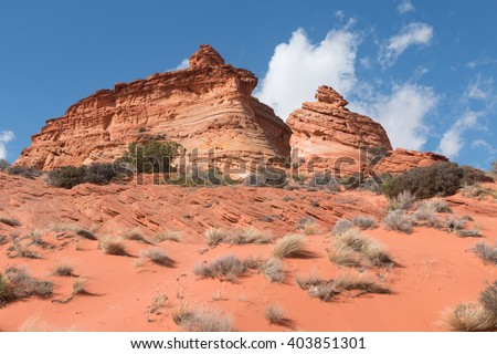 Sandstone buttes, South Coyoite Buttes, USA - stock photo