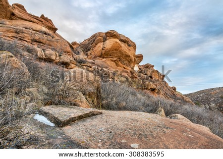 sandstone cliff at foothills of Rocky Mountains,Lory State Park near Fort Collins, Colorado