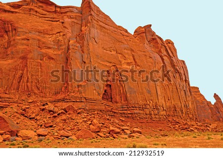Sandstone cliffs in the Monument Valley in Arizona - stock photo