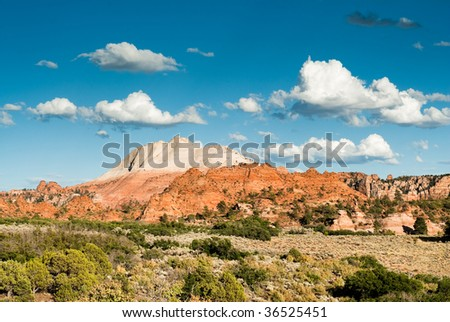 sandstone cliffs on kolob plateau in zion national park - stock photo