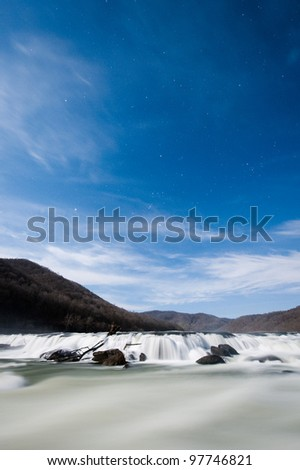 Sandstone Falls, WV at Night - stock photo