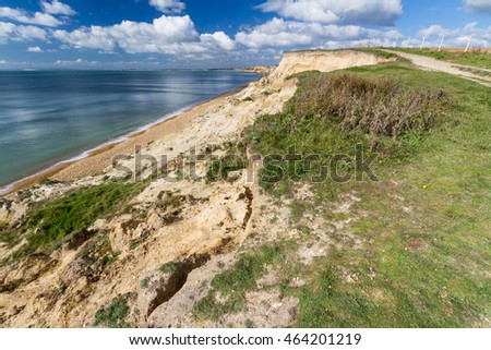 Sandstone low cliffs, Taddiford Gap, Milford on Sea, Hampshire, England United Kingdom, looking towards Christchurch and Bournemouth.