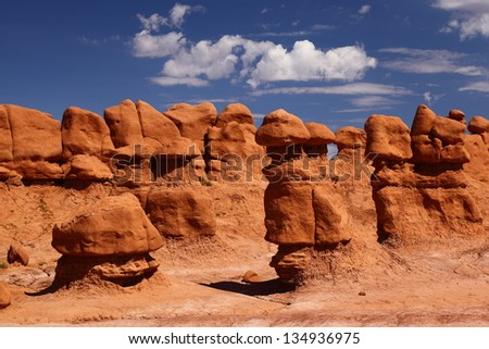 Sandstone Rock Formations in Goblin Valley State Park - stock photo