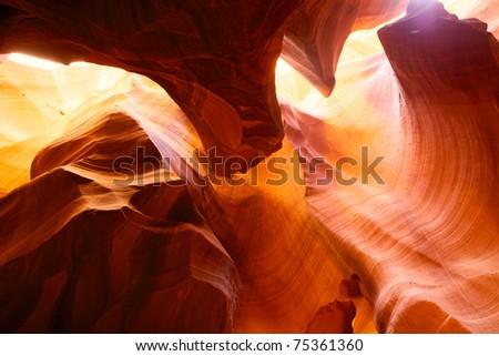Sandstone walls in Upper Antelope Canyon, Arizona, USA - stock photo