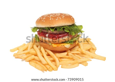 Sandwich and french fries isolated on white