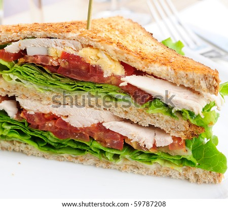 Sandwich- bacon chicken, cheese and lettuce - stock photo