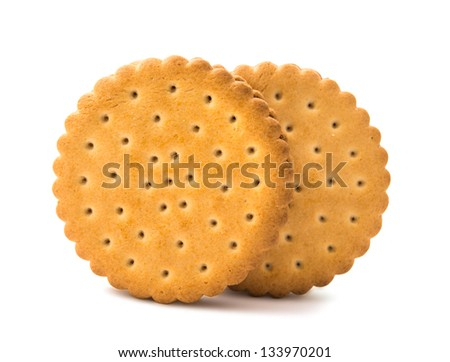 Sandwich biscuits on a white background - stock photo