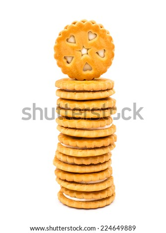 sandwich biscuits with white cream isolated on white background