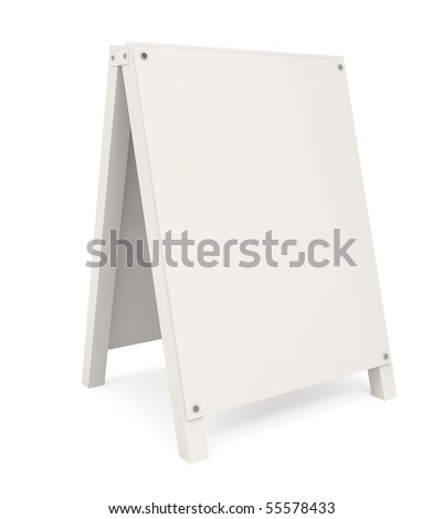 Sandwich board isolated on white - 3d illustration