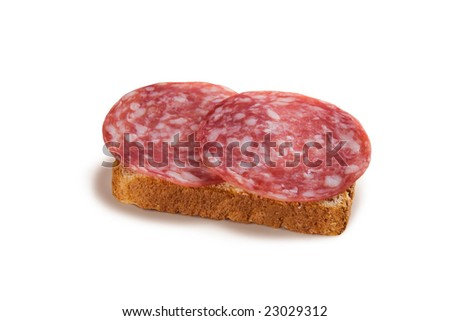 Sandwich - bread and salami sausage - stock photo