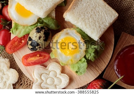 Sandwich bread with quail eggs of delicious