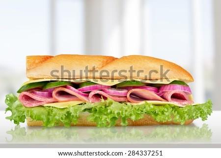 Sandwich, Bun, Fast Food. - stock photo