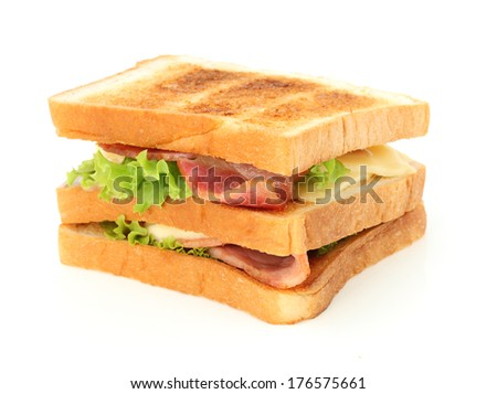 sandwich; cheese and bacon sandwich on white background