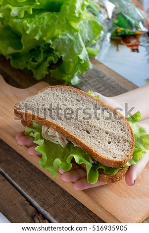 Sandwich, chicken, sauce, salad and bread on wooden background