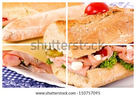 Sandwich cut collage - stock photo