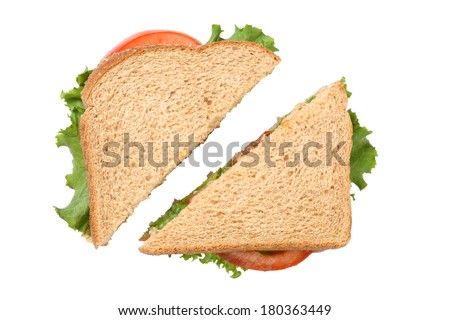 Sandwich cut in half, cutout on white background - stock photo