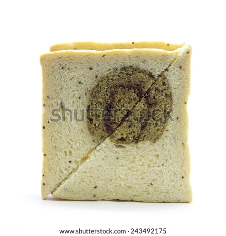 Sandwich cut whole wheat bread with banana on white background - stock photo