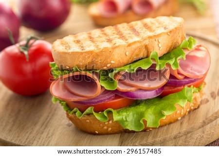 Sandwich, Delicatessen, Ham. - stock photo