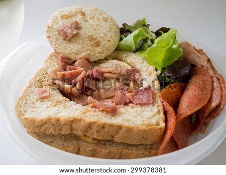 sandwich egg bacon ham and vegetable breakfast for ready to work