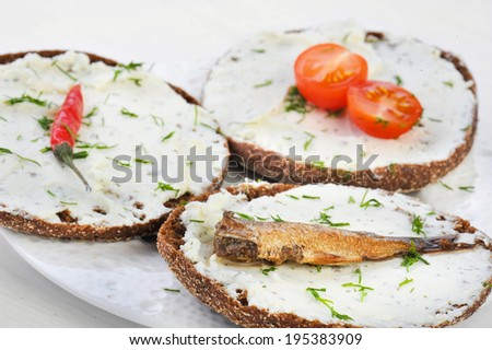 sandwich fish - stock photo