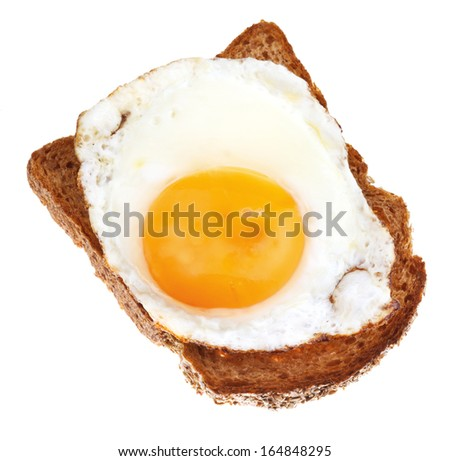 sandwich from fried egg and toasted rye bread close up isolated on white background - stock photo