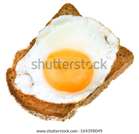 sandwich from fried egg and toasted rye bread isolated on white background - stock photo