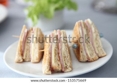 sandwich ham and cheese - stock photo