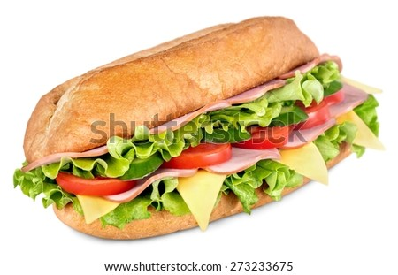 Sandwich. Ham and cheese salad submarine sandwich from freshly cut baguette. - stock photo