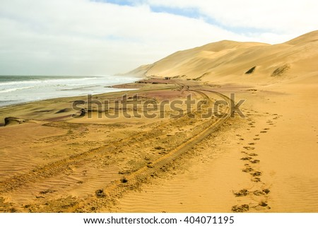 Sandwich Harbour, Walvis Bay, is a part of the Namib Naukluft Park Namibia. Wild and remote area accessible only by off-road. - stock photo