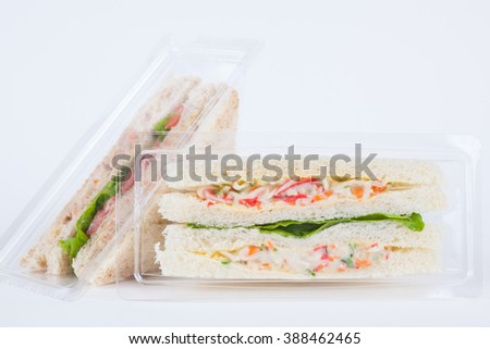Sandwich in a plastic box on white background