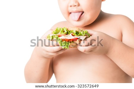 sandwich in fat boy hand isolated on white background - stock photo