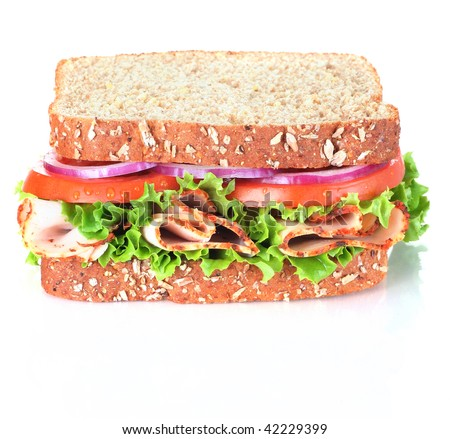 sandwich, isolated on white - stock photo
