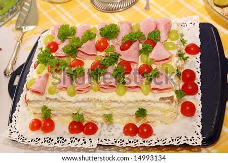 Sandwich layers with ham, vegetables, cheese and sauces - stock photo
