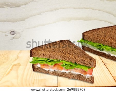 Sandwich, Lunch, Salmon. - stock photo