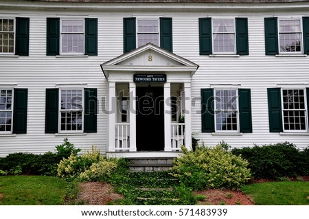 Sandwich, Massachusetts - July 13, 2015: Entrance doorway at the 1693 Newcombe Tavern in the historic district, now a private residence