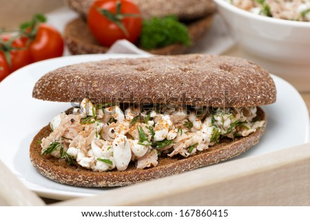 sandwich of rye bread with tuna and homemade cheese on a tray, close-up, horizontal - stock photo